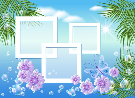 Design photo frames with sea landscape with palm, flowers, bubbles and butterfly  Vector