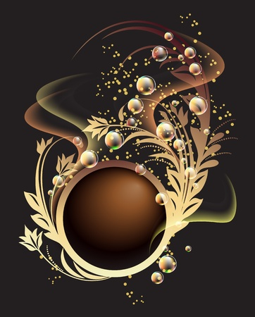 Glowing background with golden ornament, bubbles and smoke  Illustration