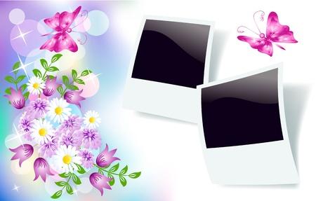 Fondo floral para una inserción de texto o una foto. Ilustración de vector