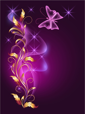 Glowing background with butterfly and golden ornament Vector