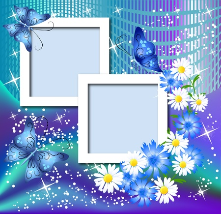 shone: Design photo frames with flowers and butterfly