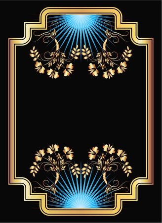 gold picture frame: Background with golden ornament for various design artwork