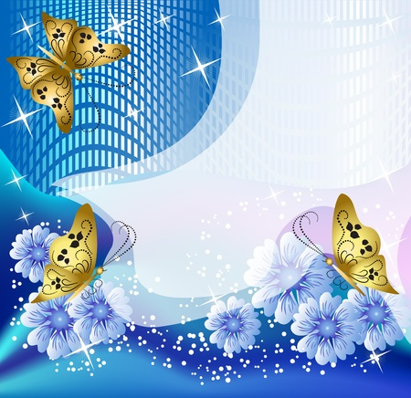 transparent brush: Design postcard with flowers and butterfly for inserting text or photo