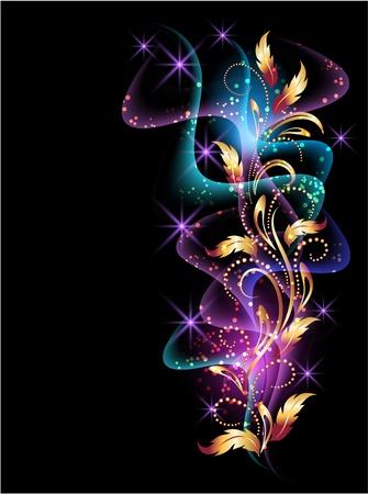 beam: Gloeiende achtergrond met rook, sterren en gouden ornament Stock Illustratie