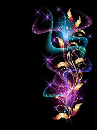 beams: Glowing background with smoke, stars and golden ornament Illustration