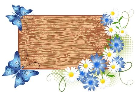 letreros: Panel de se�al de madera con flores y mariposas Vectores