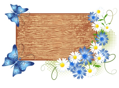flower structure: Wooden  signboard with flowers and butterfly Illustration