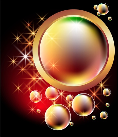 Glowing background with bubbles and stars  Stock Vector - 10057323