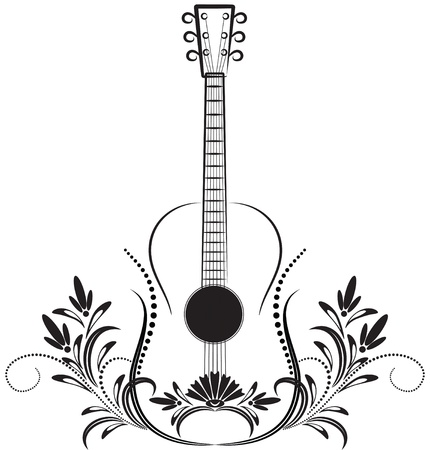 Guitar. Decorative ornament.  Stock Vector - 10057298