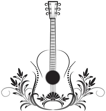 gitar: Guitar. Decorative ornament.  Çizim