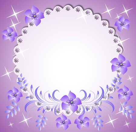 transparent brush: Napkin with lacy edges with flowers, stars and a place for text or photo.