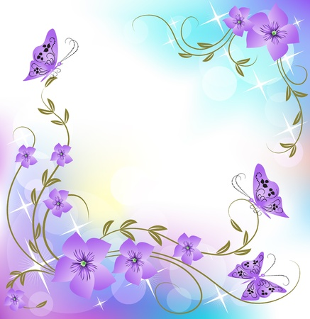 butterfly border: Floral background with butterfly
