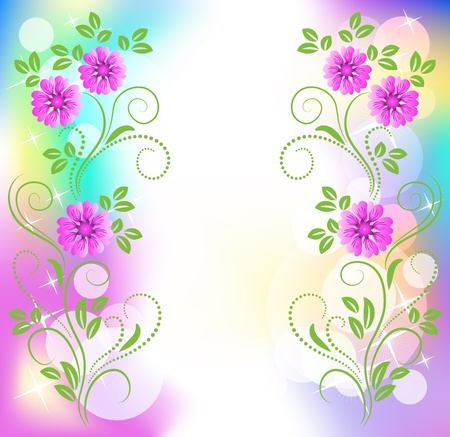boke: Floral background with stars Illustration