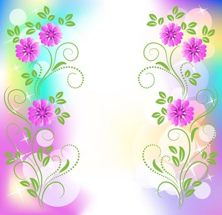 translucent: Floral background with stars Illustration