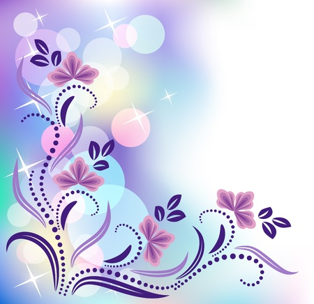 Floral background with bokeh and stars Stock Vector - 10143813