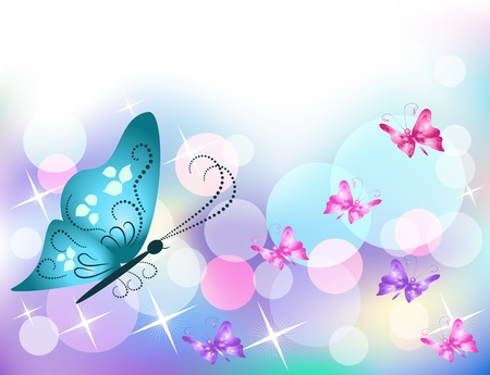 transparent brush: Background with butterfly and stars Illustration