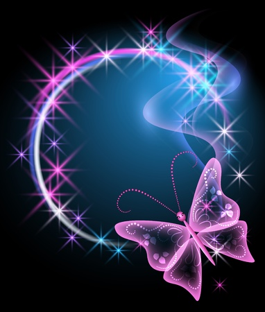 Glowing background with butterfly and stars Stock Vector - 10143844