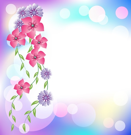 Glowing vector background with flowers