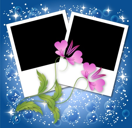Page layout photo album with flowers and stars Vector