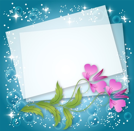 transparent brush: Magic floral background with stars and a place for text or photo.