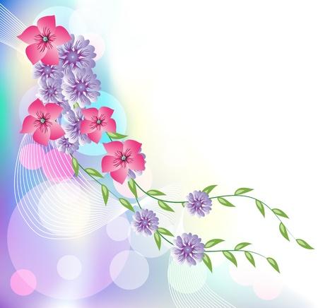 brillante: Glowing sfondo con fiori di arte e di design vari