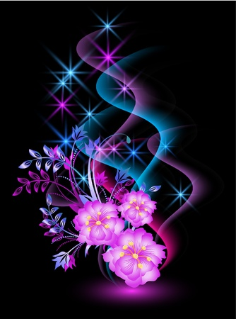 Glowing background with flowers, smoke and stars Vector