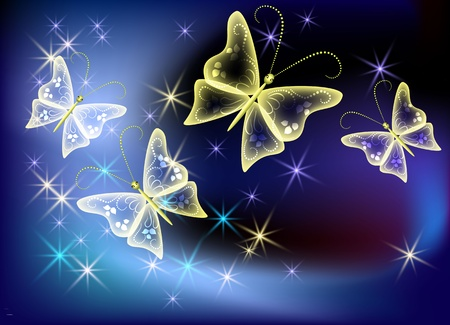 luminescence: Glowing background with transparent butterfly and stars