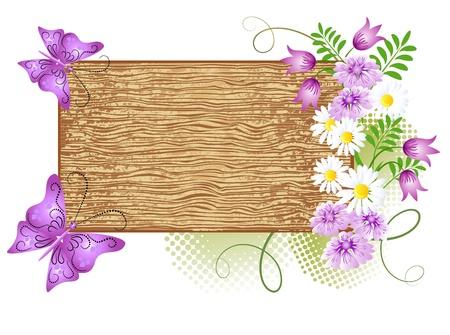 Panneaux en bois avec des fleurs et de papillons Vecteurs
