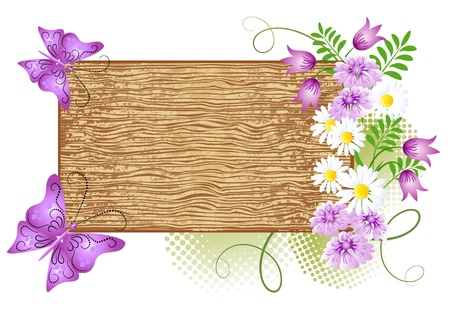 field of flowers: Wooden signboard with flowers and butterfly
