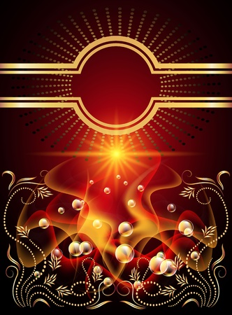 Background with glowing stars, golden ornament and smoke Vector