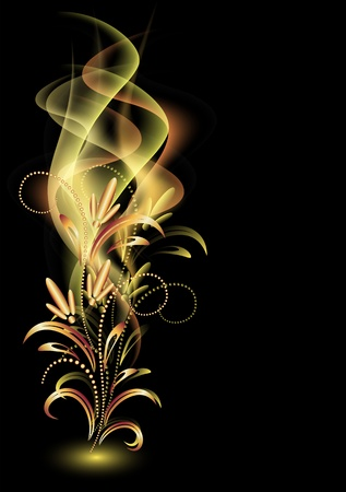 romance: Glowing background with smoke and golden ornament
