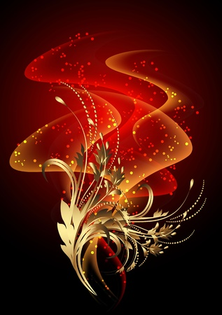 Glowing background with smoke and golden ornament