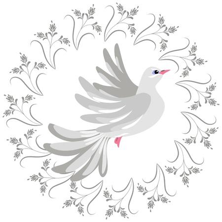 Decorative ornament and dove Illustration