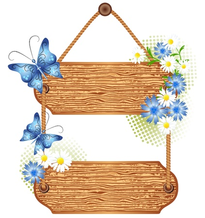 wooden signboard: Wooden signboard with flowers for text Illustration