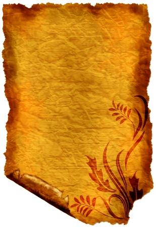 vintage parchement: Old paper - crumple parchment paper texture background Stock Photo