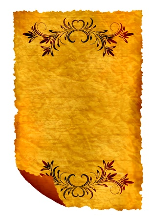 medieval scroll: Old paper - crumple parchment paper texture background with ornament
