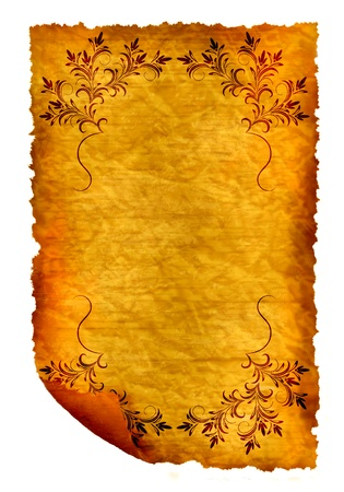 Old paper - crumple parchment paper texture background with ornament photo