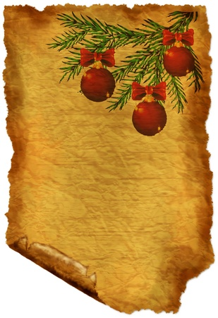 Old paper with Christmas-decorations photo