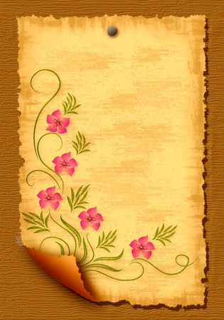 Wooden texture background and paper blank leaf photo