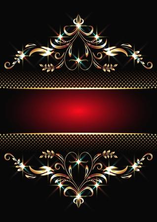 희미한 빛: 황금 장식과 반짝이는 조명과 배경