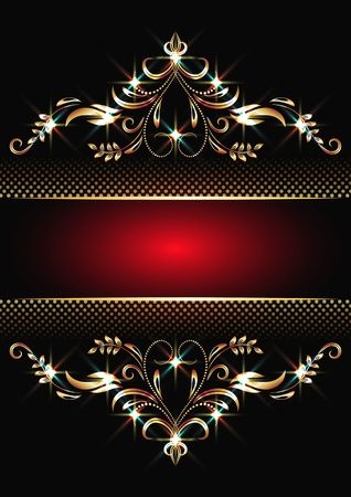shimmer: Background with golden ornament and sparkling lights