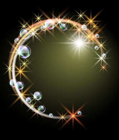 Gloeiende achtergrond met sterretjes en zwarte bubbels