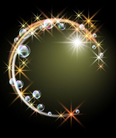 round brilliant: Glowing background with stars and bubbles