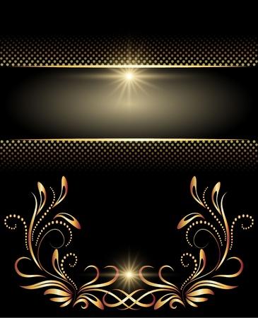 виньетка: Фон с золотым орнаментом для различных работ дизайна Иллюстрация