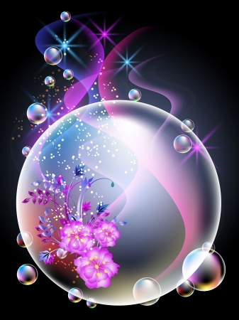 Sfondo incandescente con sfera, fiori, fumo, stelle e bolle