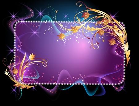letreros: Fondo brillante con se�al, humo, estrellas y ornamentos de oro Vectores