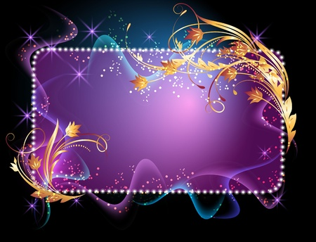 Glowing background with signboard, smoke, stars and golden ornament Vector