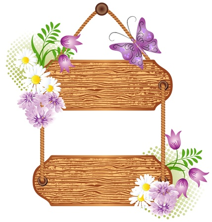 Wooden signboard with flowers for text Illustration