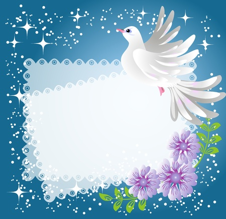 Magic background with dove, flowers, stars and a place for text or photo. Vector