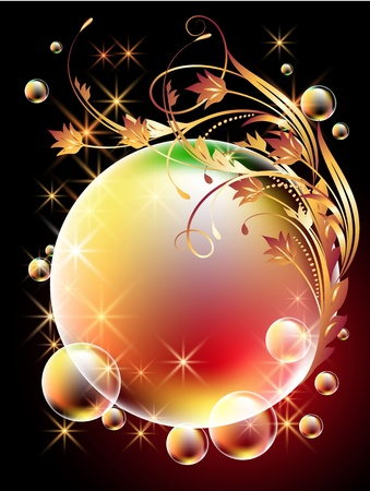 round brilliant: Glowing background with sphere, golden ornament, stars and bubbles